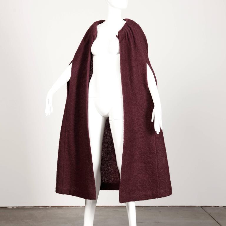 1960s Pauline Trigere Plum Mohair Wool Cape Coat 6