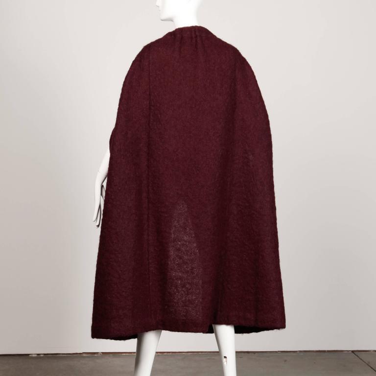 1960s Pauline Trigere Plum Mohair Wool Cape Coat 7
