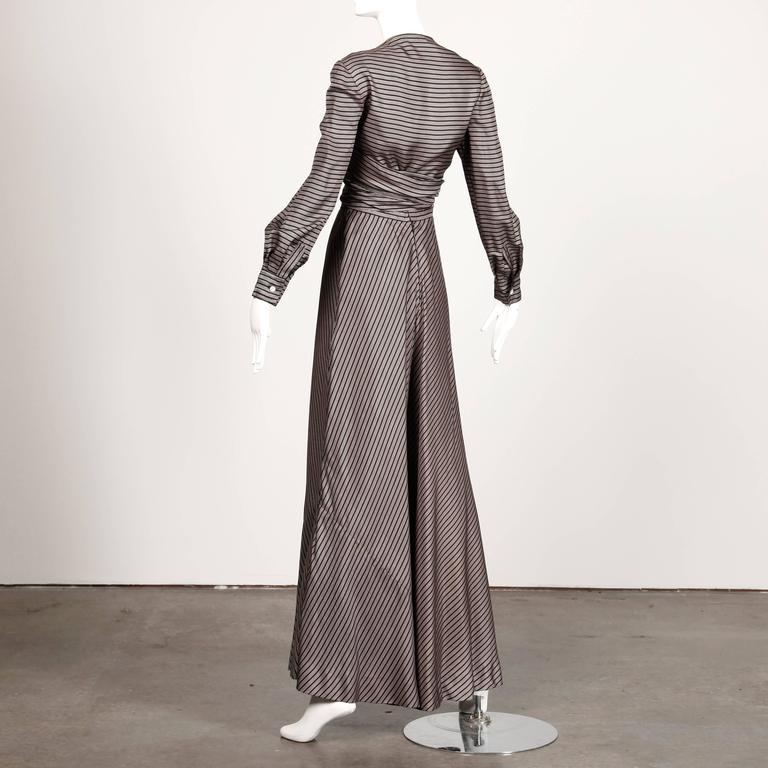 Jean Patou 1970s Vintage Silk Striped Wrap Top + Maxi Skirt Dress Ensemble 7