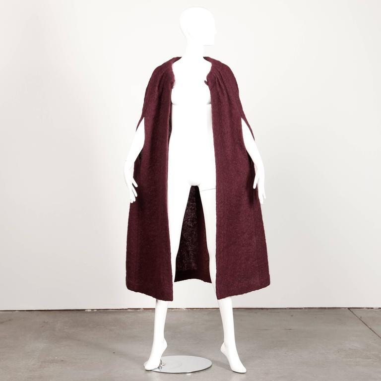 1960s Pauline Trigere Plum Mohair Wool Cape Coat 2