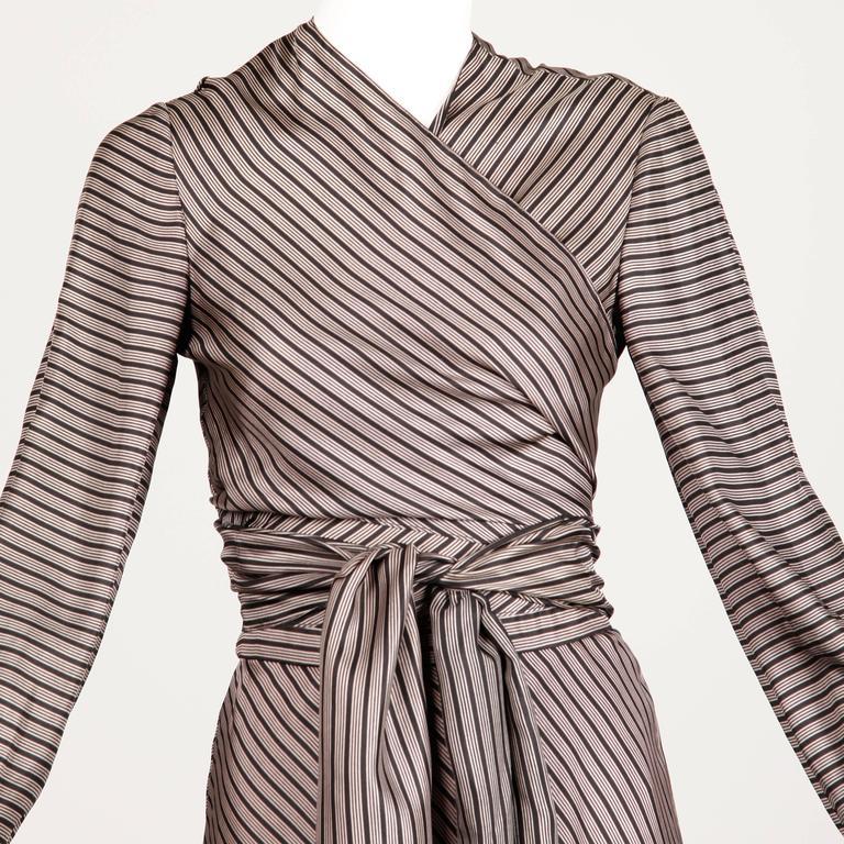 Jean Patou 1970s Vintage Silk Striped Wrap Top + Maxi Skirt Dress Ensemble 8