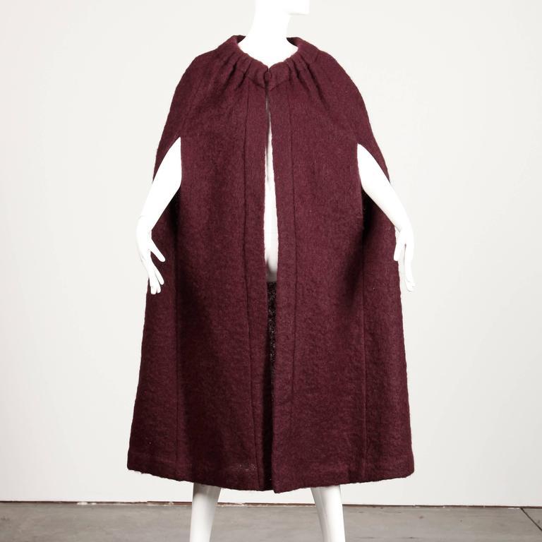 1960s Pauline Trigere Plum Mohair Wool Cape Coat 4