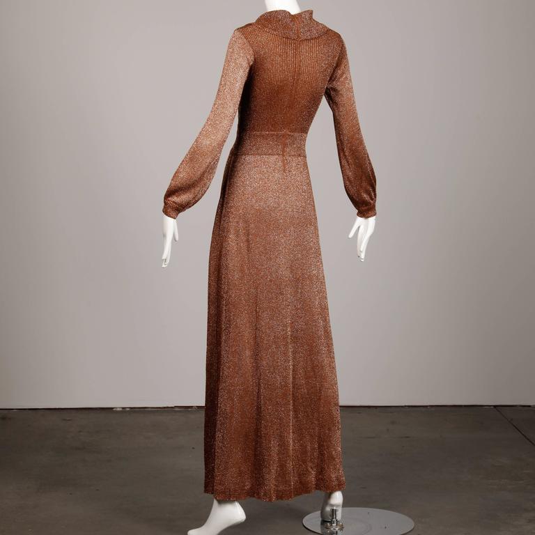 Brown 1970s Wenjilli Vintage Dress For Sale