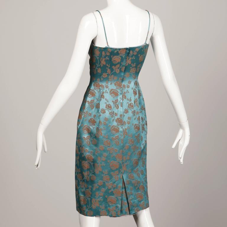 1950s Blue Satin Dress 3