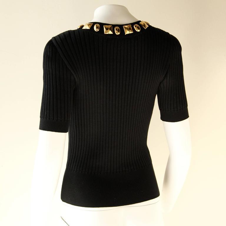Black Escada Vintage Studded Knit Top For Sale