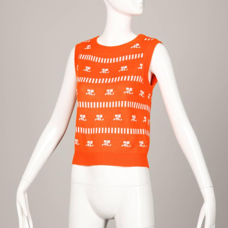 Red 1970s Courreges Vintage Orange Knit Sweater Vest For Sale