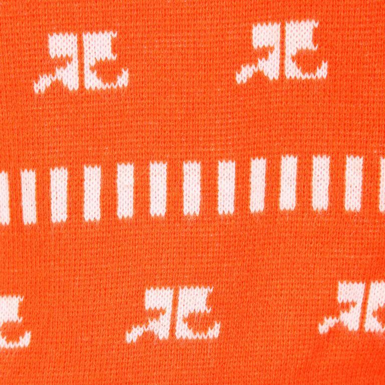 1970s Courreges Vintage Orange Knit Sweater Vest In Excellent Condition For Sale In Sparks, NV