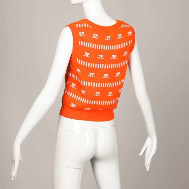 Women's 1970s Courreges Vintage Orange Knit Sweater Vest For Sale