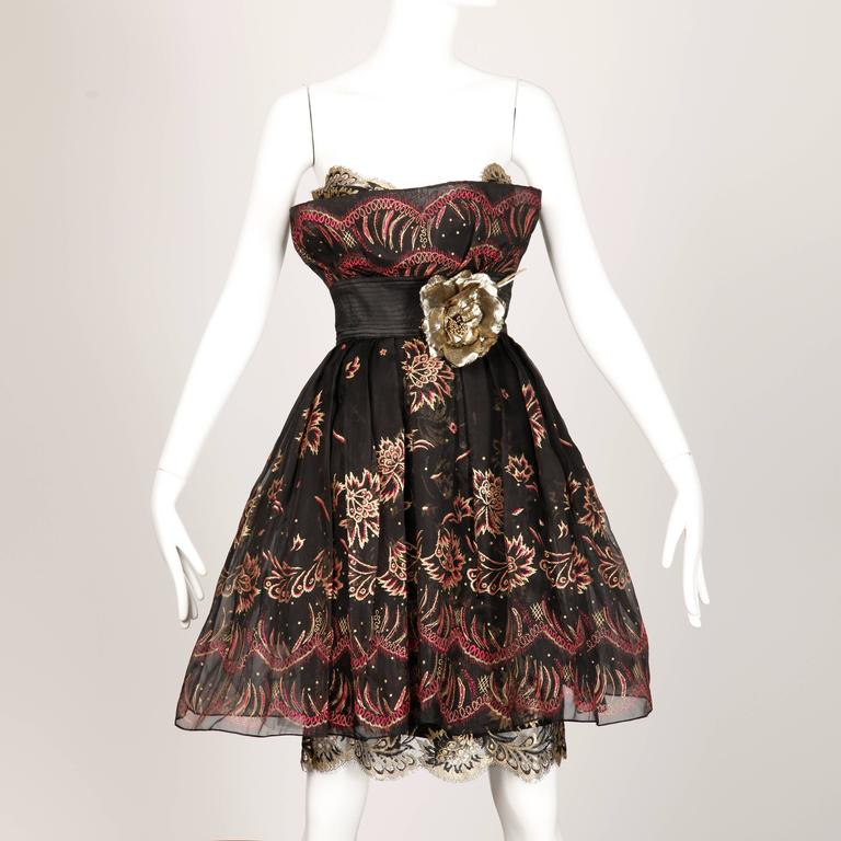Black Zandra Rhodes Vintage Hand-Painted Dress For Sale