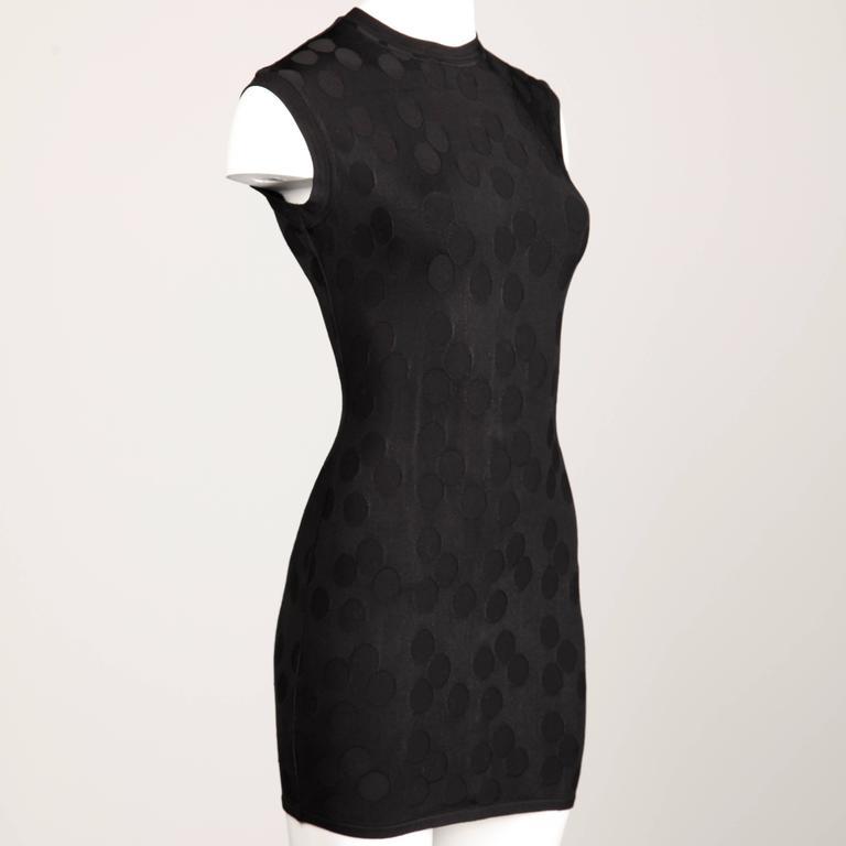 Alaia Vintage 1990s Black Polka Dot Dress In Excellent Condition For Sale In Sparks, NV