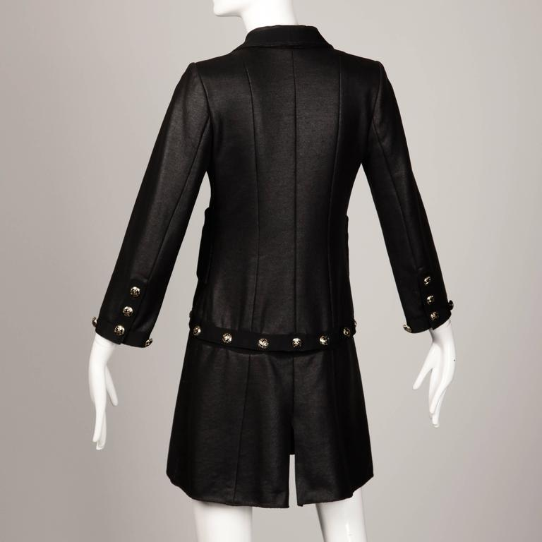 Chanel 2008 Convertible 2-in-1 Black Jacket + Coat with Airline Cruise Buttons For Sale 1