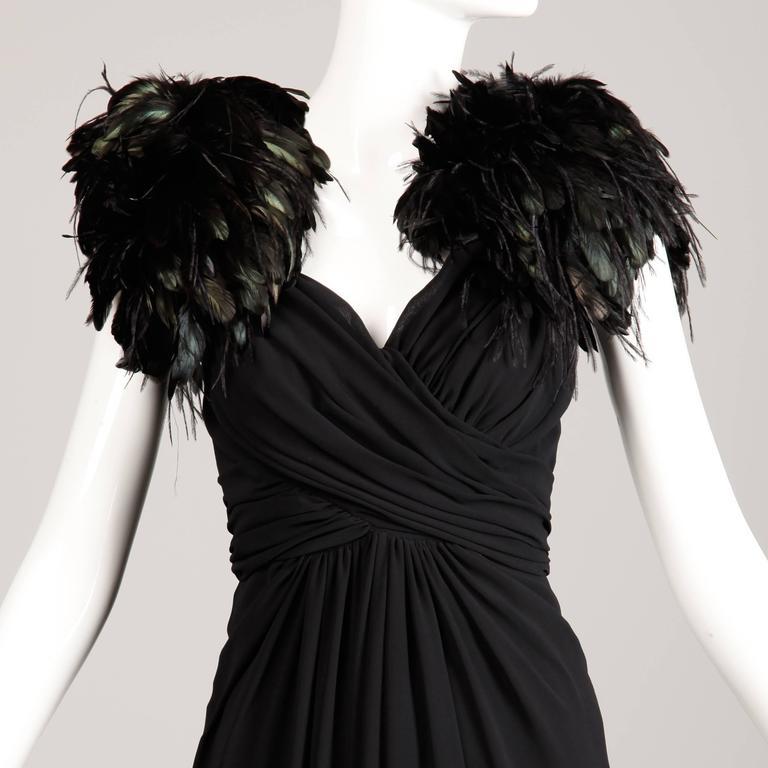 1970s Lilli Diamond Vintage Black Feathers Gown For Sale 1