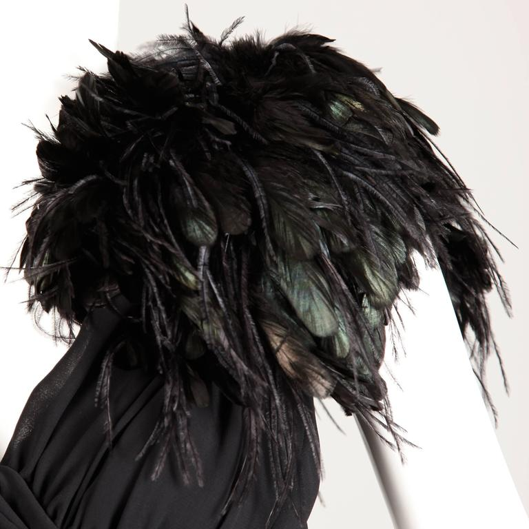 1970s Lilli Diamond Vintage Black Feathers Gown For Sale 2