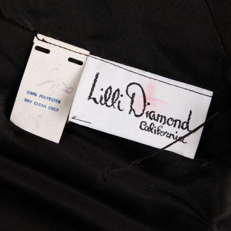 Women's 1970s Lilli Diamond Vintage Black Feathers Gown For Sale