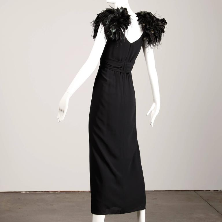 1970s Lilli Diamond Vintage Black Feathers Gown In Excellent Condition For Sale In Sparks, NV