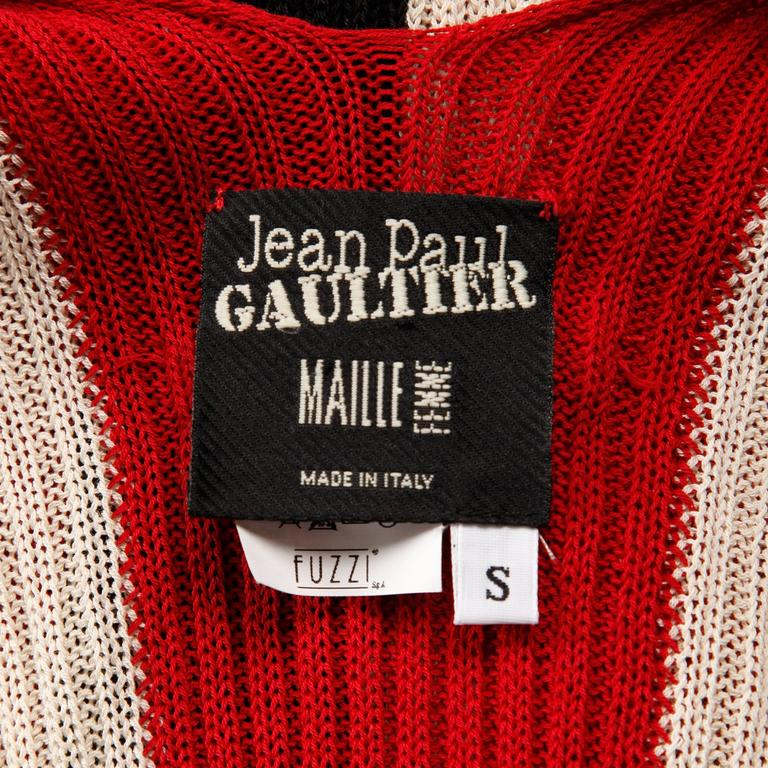 Black Jean Paul Gaultier Knit Sweater Top or Shirt with Mesh Sleeves For Sale