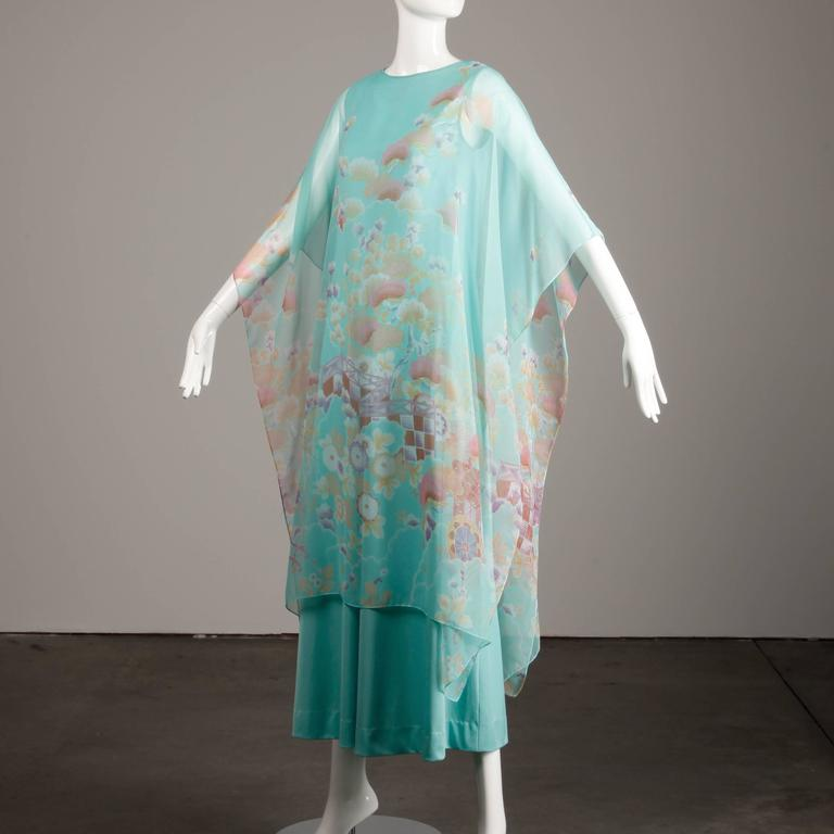 1970s Vintage Asian Inspired Chiffon Caftan Maxi Dress For