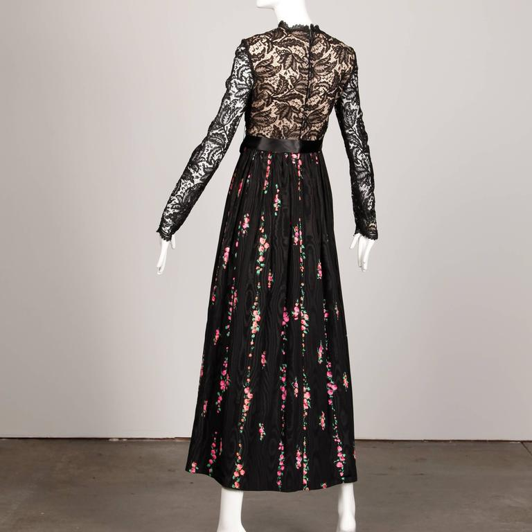 Women's  Richilene Vintage Black Lace Hand-Painted Silk Dress with Tags, 1970s   For Sale