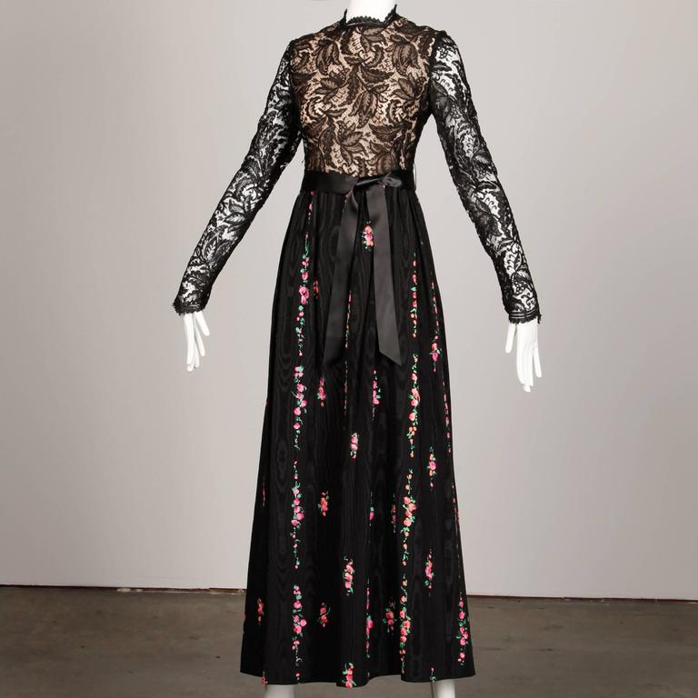 Richilene Vintage Black Lace Hand-Painted Silk Dress with Tags, 1970s   For Sale 2