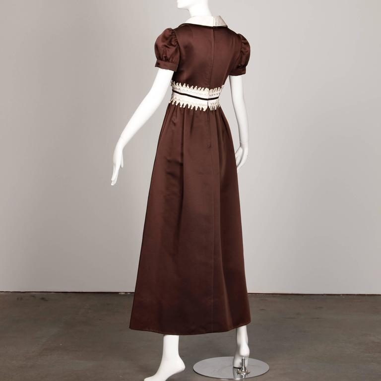 Women's 1970s Oscar de la Renta Vintage Brown Satin Maxi Dress For Sale