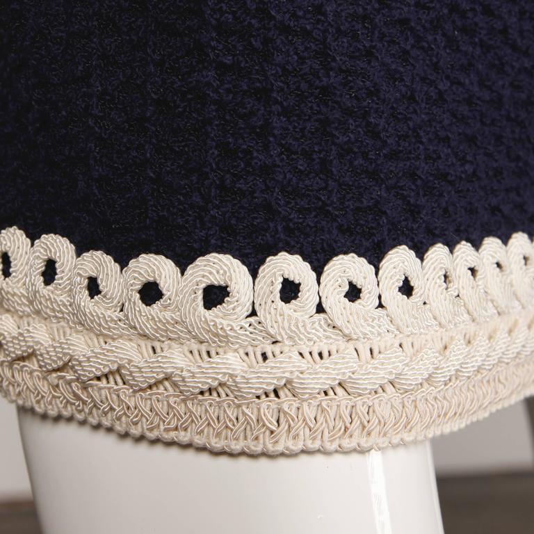 adolfo vintage navy blue ivory wool knit pencil skirt