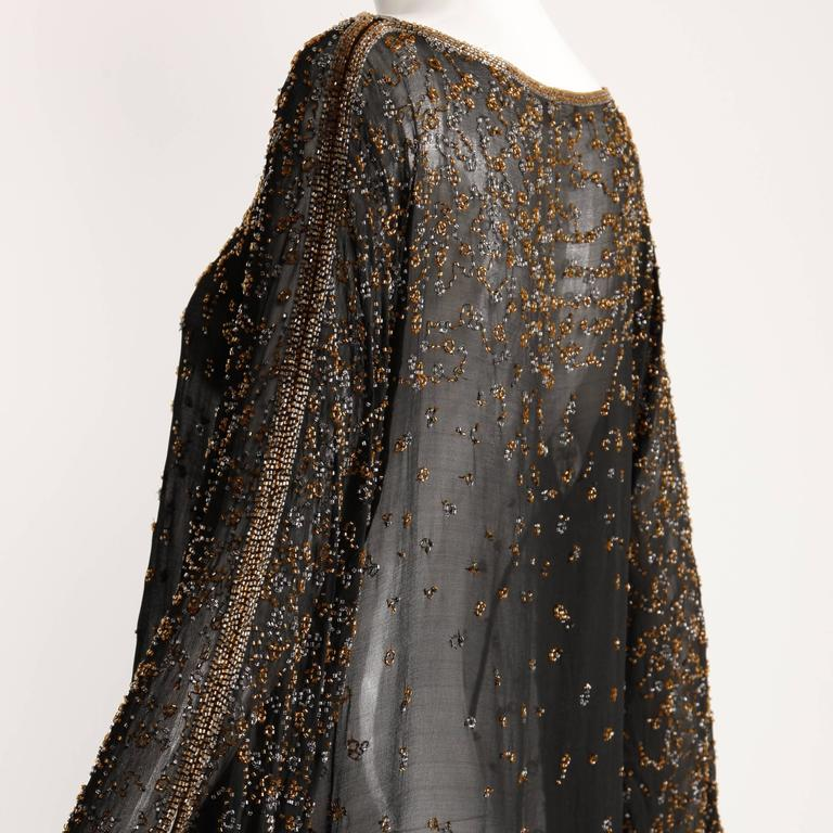 Women's 1970s Halston Vintage Black Sheer Silk Metallic Silver + Gold Beaded Dress For Sale