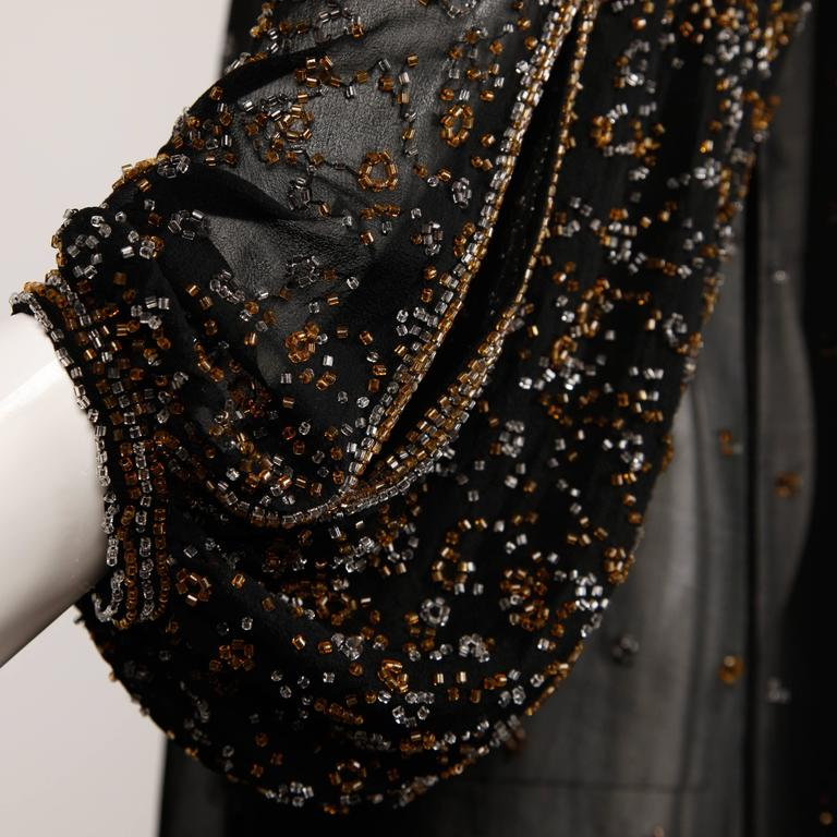 1970s Halston Vintage Black Sheer Silk Metallic Silver + Gold Beaded Dress In Excellent Condition For Sale In Sparks, NV