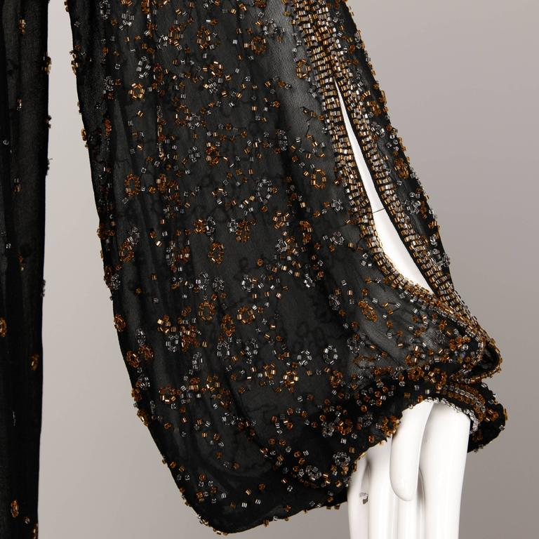 1970s Halston Vintage Black Sheer Silk Metallic Silver + Gold Beaded Dress For Sale 1