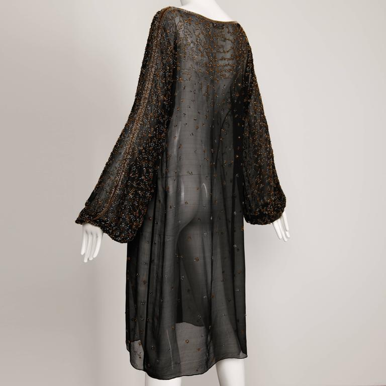 1970s Halston Vintage Black Sheer Silk Metallic Silver + Gold Beaded Dress For Sale 2
