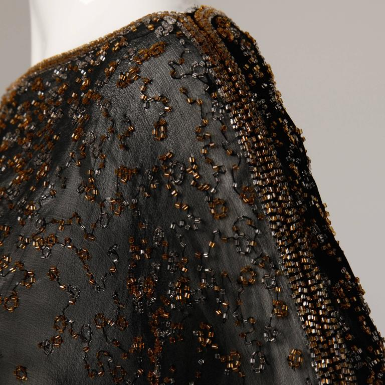 1970s Halston Vintage Black Sheer Silk Metallic Silver + Gold Beaded Dress For Sale 4