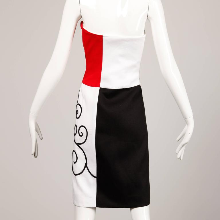 Women's 1980s Pierre Balmain Vintage Color Block Strapless Dress For Sale