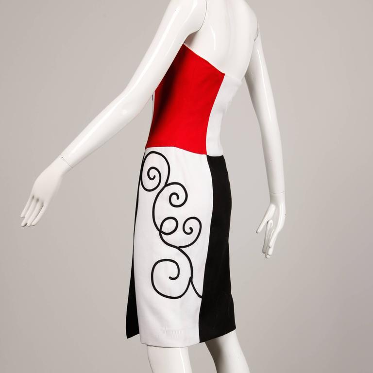 1980s Pierre Balmain Vintage Color Block Strapless Dress In Excellent Condition For Sale In Sparks, NV