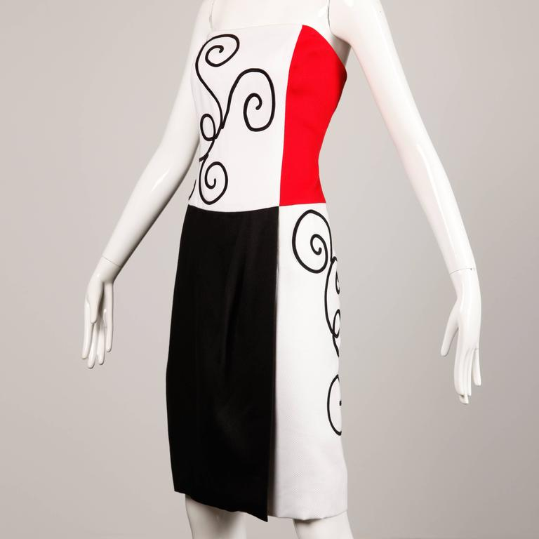1980s Pierre Balmain Vintage Color Block Strapless Dress For Sale 2
