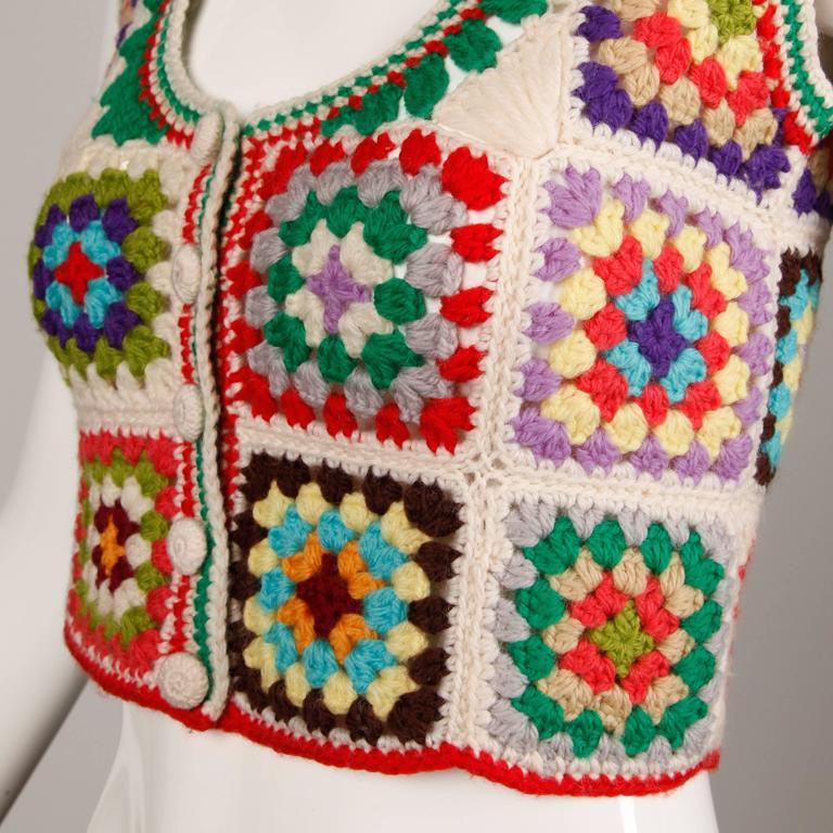 Women's Adolfo Colorful Vintage Wool Granny Squares Hand Crochet Vest Top, 1970s  For Sale