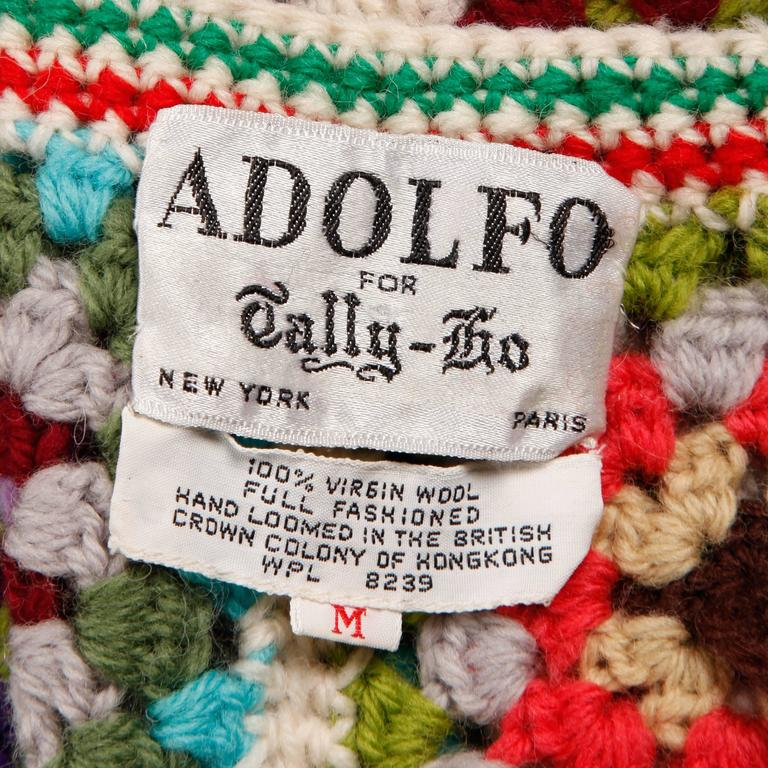 Adolfo Colorful Vintage Wool Granny Squares Hand Crochet Vest Top, 1970s  3
