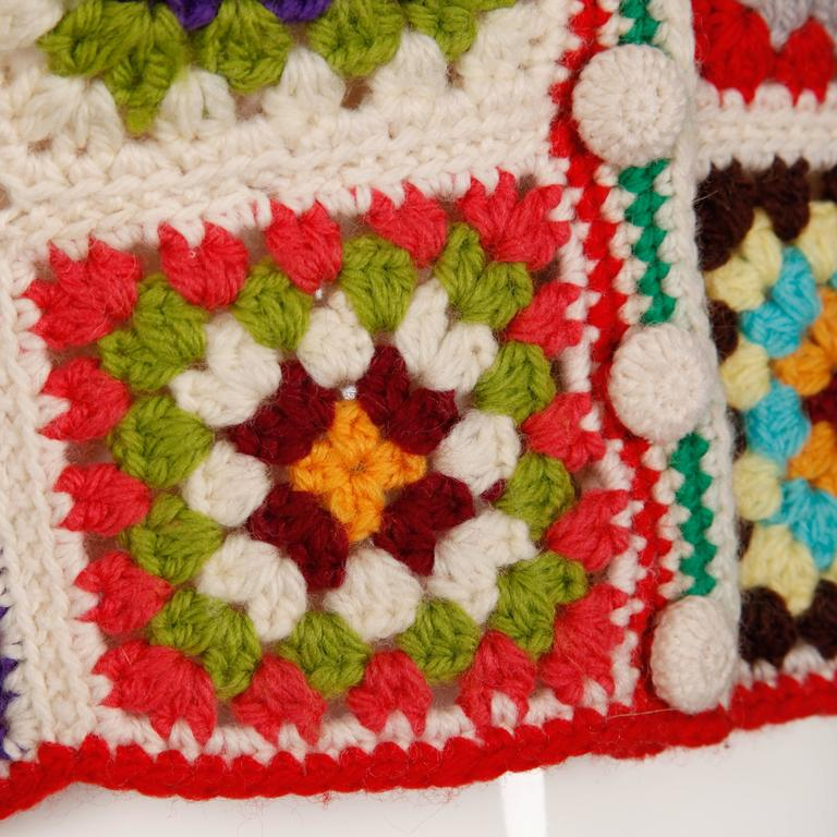Adolfo Colorful Vintage Wool Granny Squares Hand Crochet Vest Top, 1970s  6