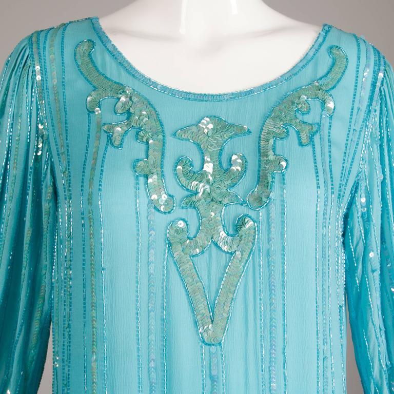 vintage teal blue silk sequin beaded art deco flapper