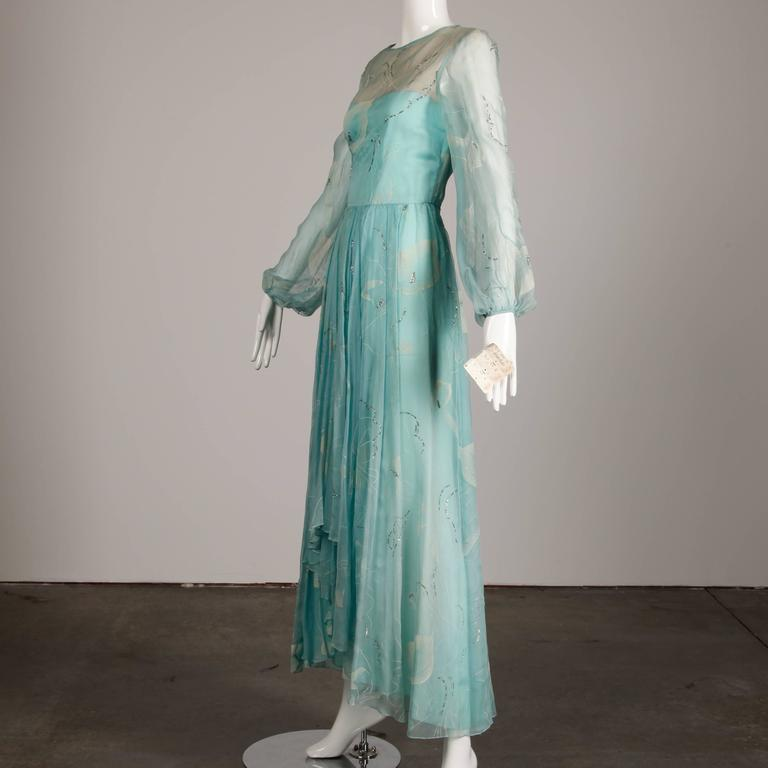 Unworn 1970s Richilene Vintage Blue Silk Chiffon + Metallic Silver Dress In New Never_worn Condition For Sale In Sparks, NV