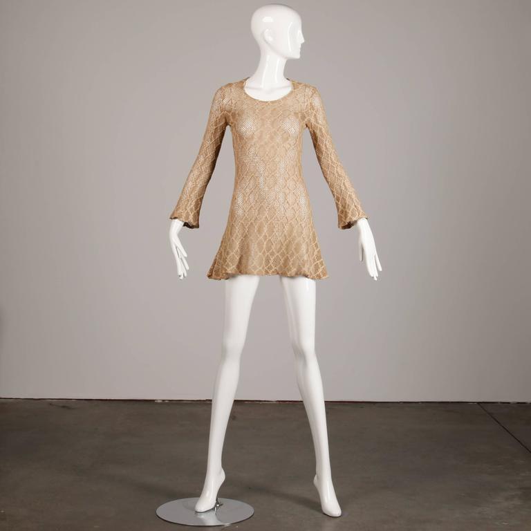 1970s Betsey Johnson Attributed Paraphernalia Crochet Mini Dress or Tunic 4