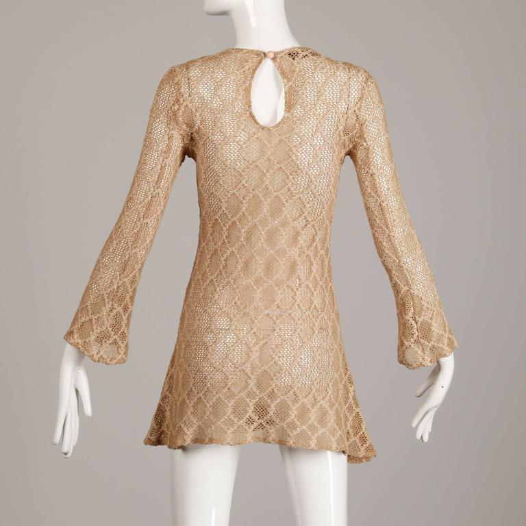 1970s Betsey Johnson Attributed Paraphernalia Crochet Mini Dress or Tunic 5