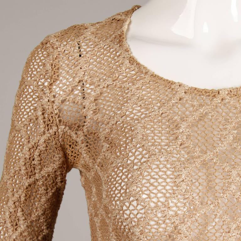 1970s Betsey Johnson Attributed Paraphernalia Crochet Mini Dress or Tunic 6