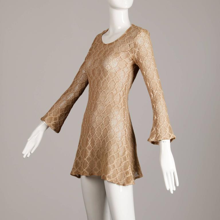 1970s Betsey Johnson Attributed Paraphernalia Crochet Mini Dress or Tunic 2