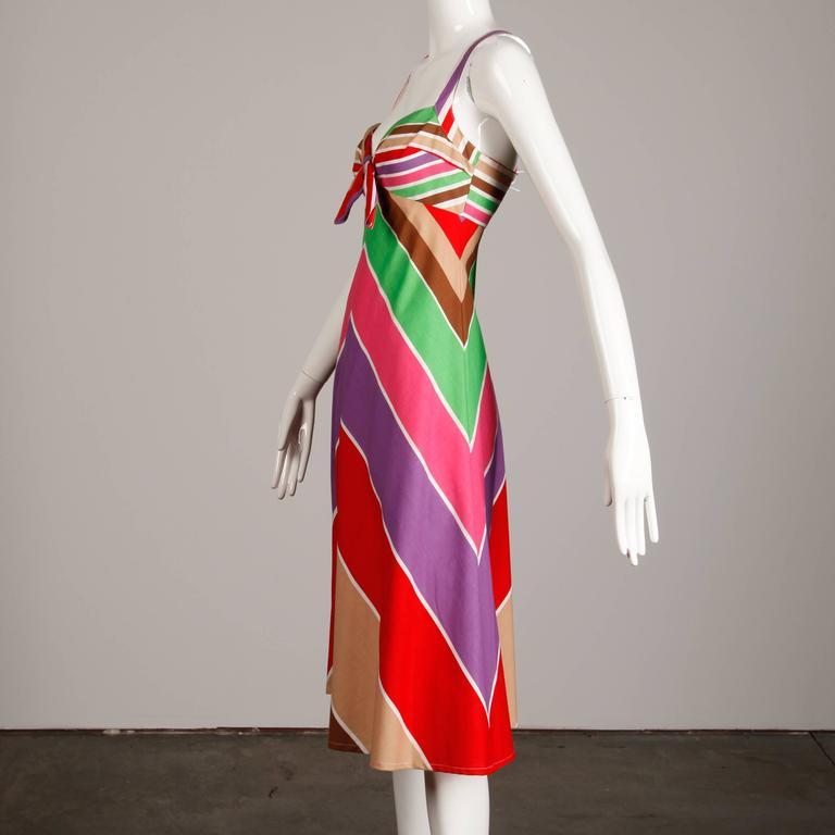 e2c017cffbb Joseph Magnin Vintage Rainbow Striped Cotton Sundress