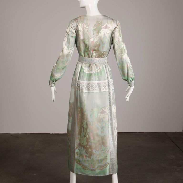 1970s Jon Mandl Vintage Novelty Print Jacquard Maxi Dress + Leather Lined Belt In Excellent Condition For Sale In Sparks, NV