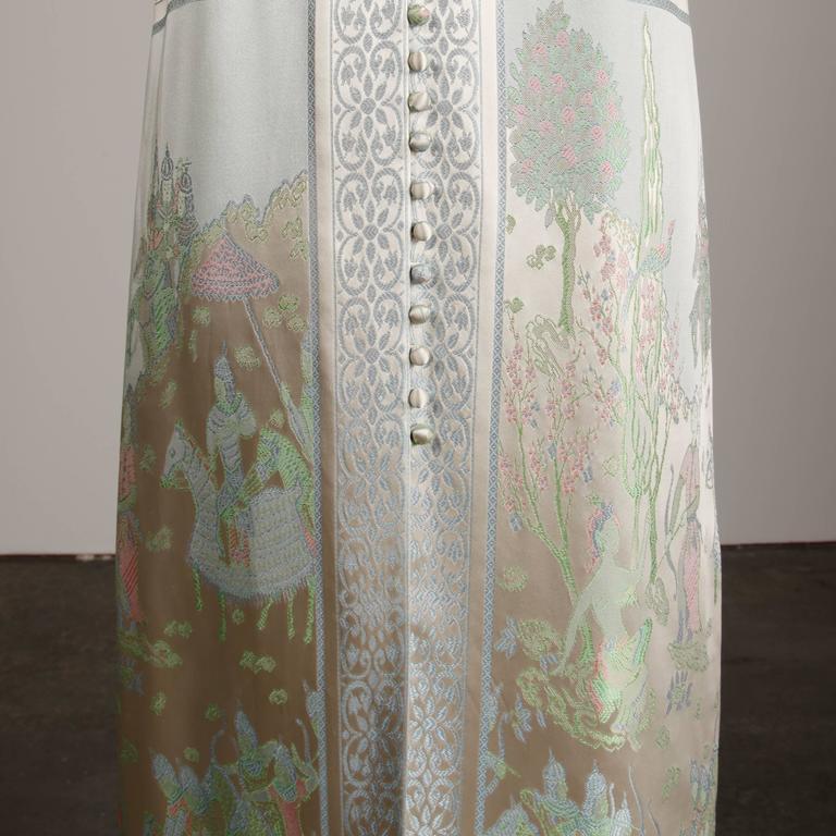 1970s Jon Mandl Vintage Novelty Print Jacquard Maxi Dress + Leather Lined Belt For Sale 2