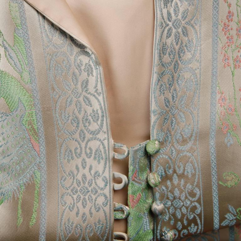 1970s Jon Mandl Vintage Novelty Print Jacquard Maxi Dress + Leather Lined Belt For Sale 4