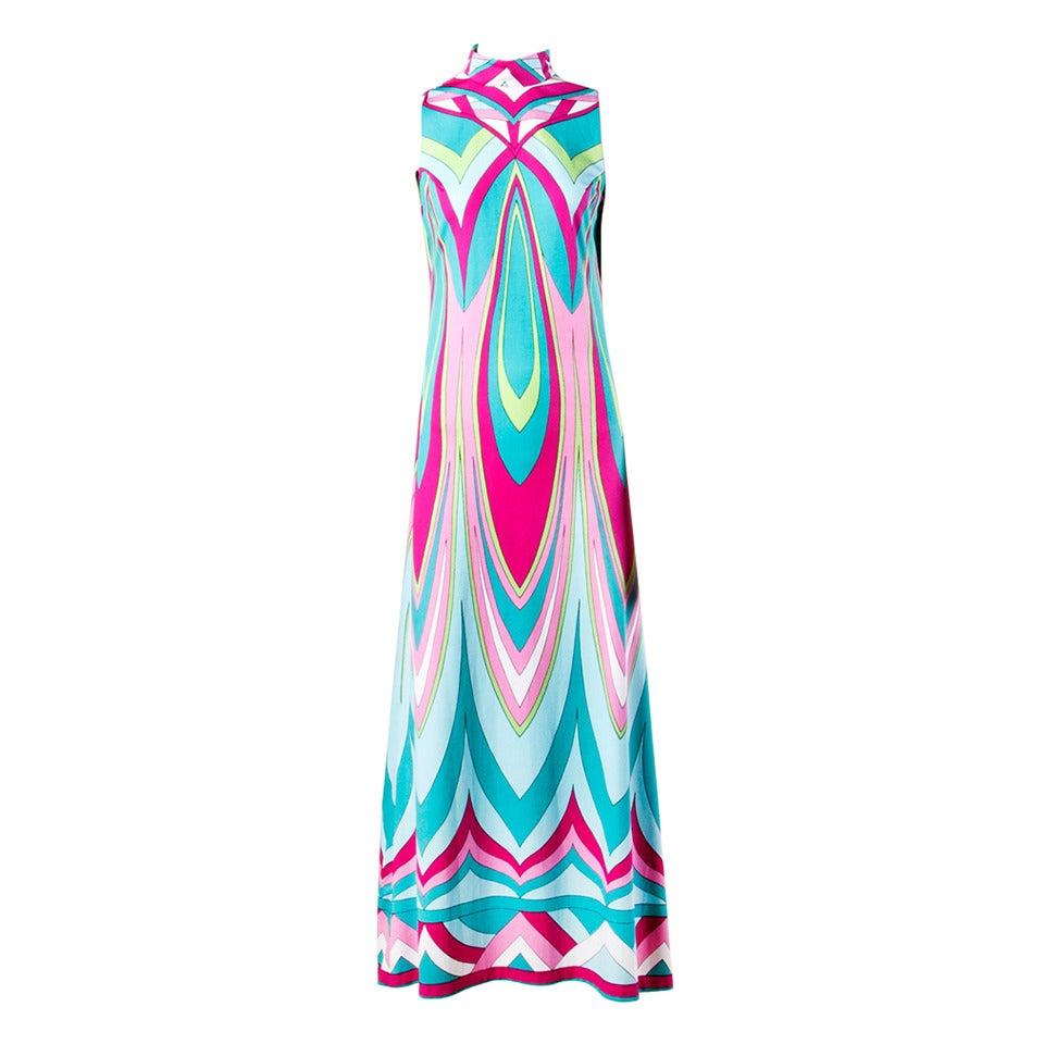 Vintage 1970s Colorful Op Art Jersey Knit Maxi Dress