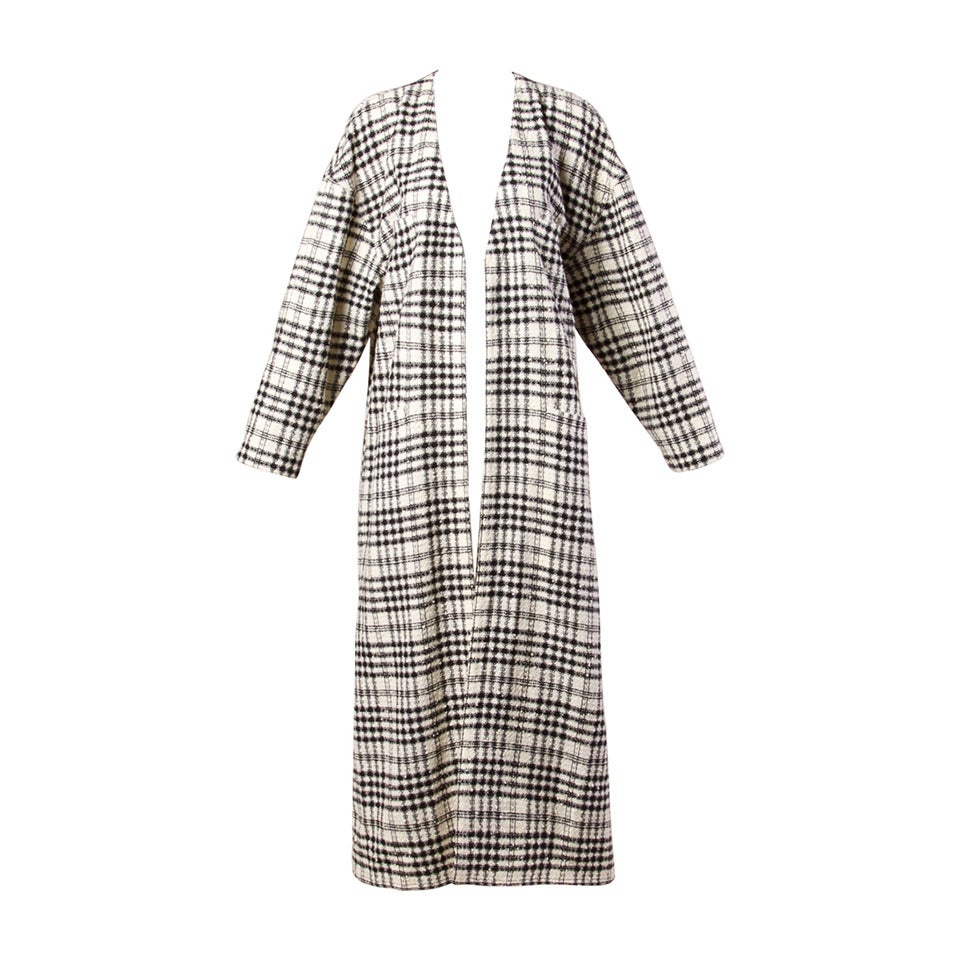 sonia rykiel vintage 1990s long plaid wool cardigan at 1stdibs. Black Bedroom Furniture Sets. Home Design Ideas