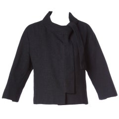 Jacques Tiffeau Vintage 1960s Black Wool + Silk Couture Jacket