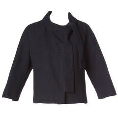 Jacques Tiffeau Vintage 1960s Black Wool + Silk Couture Jacket